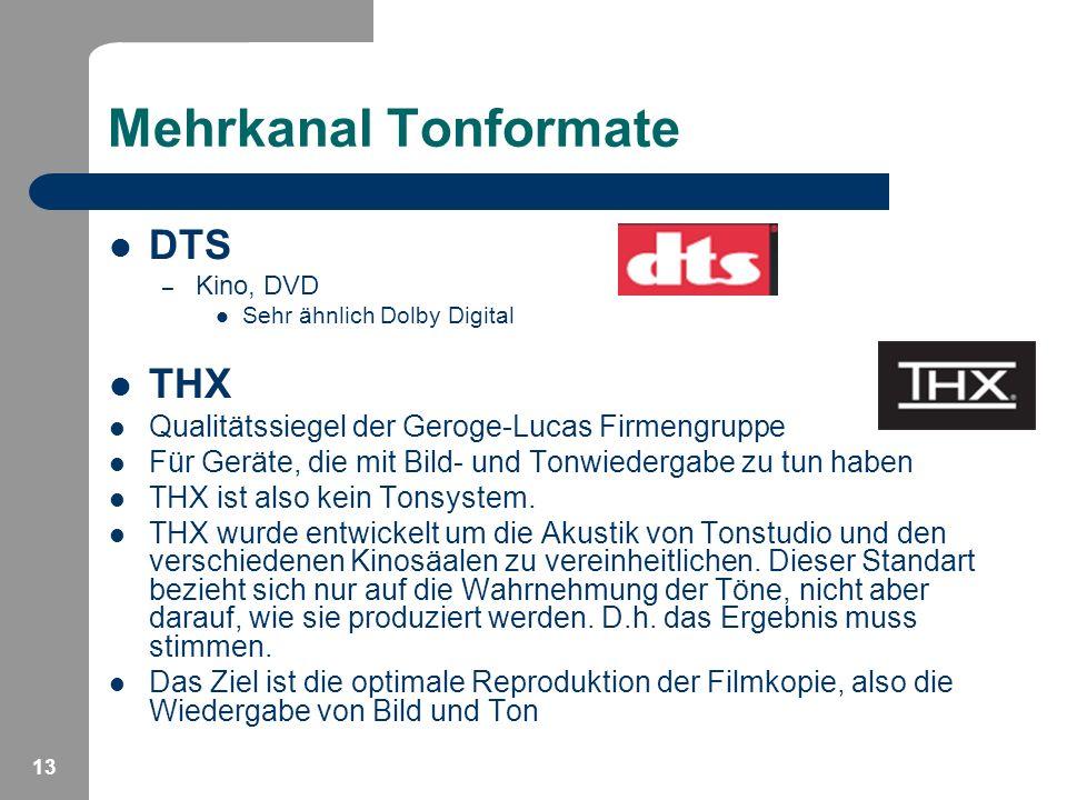 Mehrkanal Tonformate DTS THX