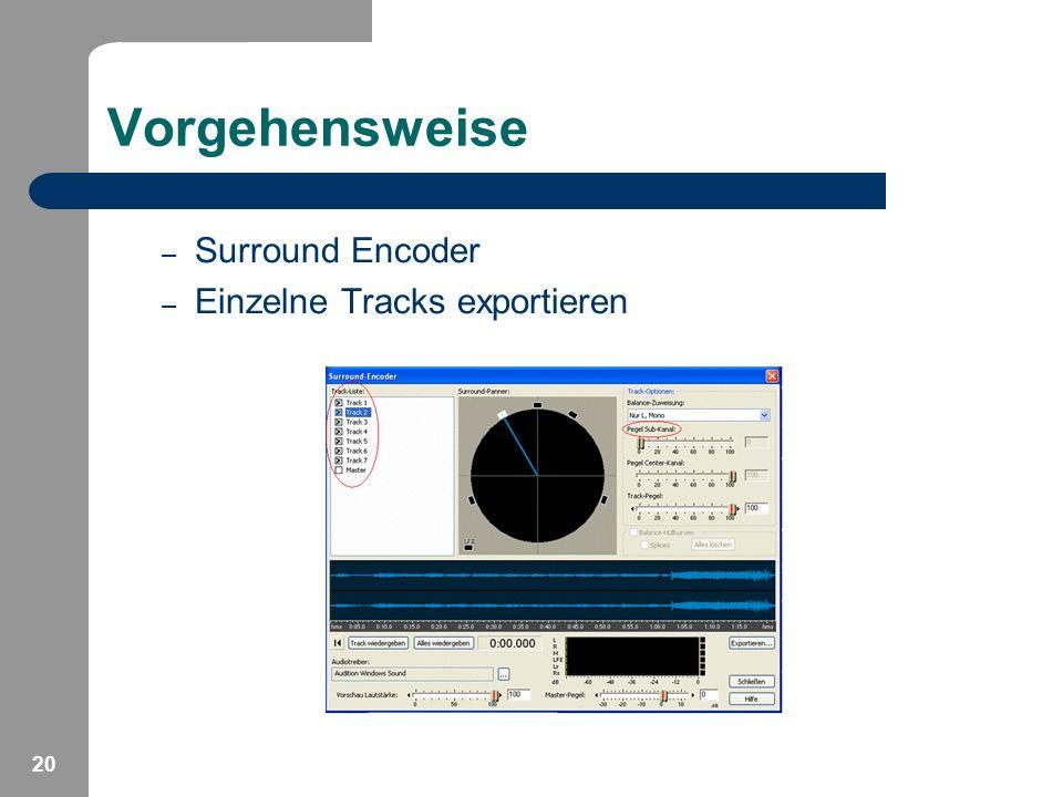 Vorgehensweise Surround Encoder Einzelne Tracks exportieren