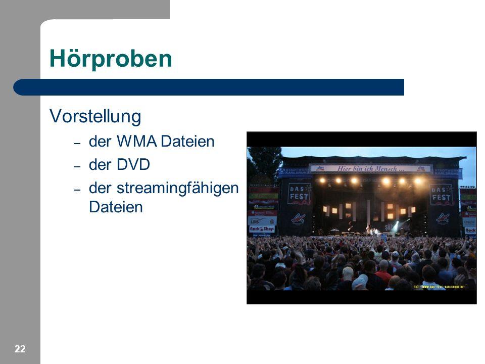 Hörproben Vorstellung der WMA Dateien der DVD