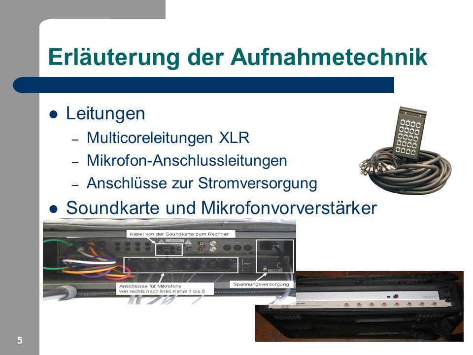 Erläuterung der Aufnahmetechnik