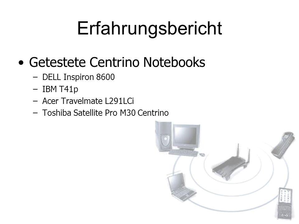 Erfahrungsbericht Getestete Centrino Notebooks DELL Inspiron 8600
