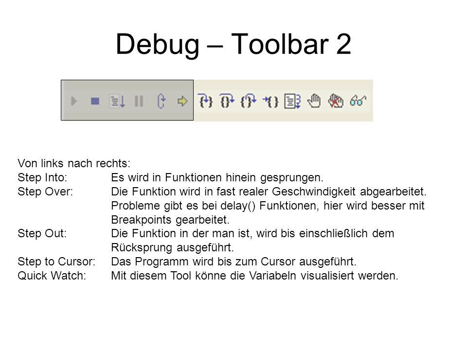 Debug – Toolbar 2 Von links nach rechts: