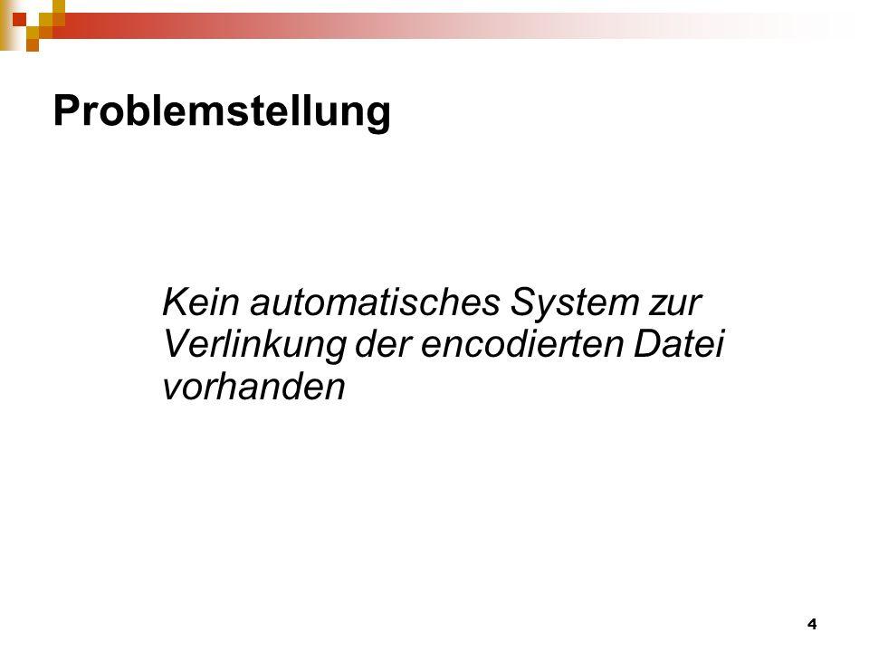 Problemstellung Kein automatisches System zur Verlinkung der encodierten Datei vorhanden