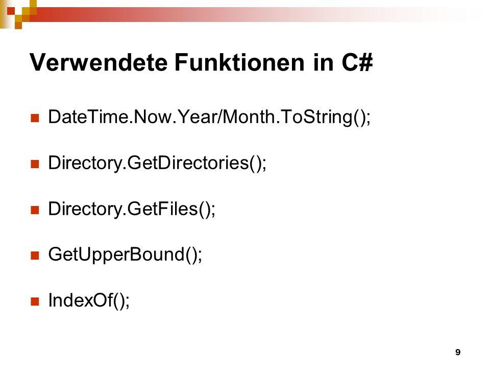 Verwendete Funktionen in C#