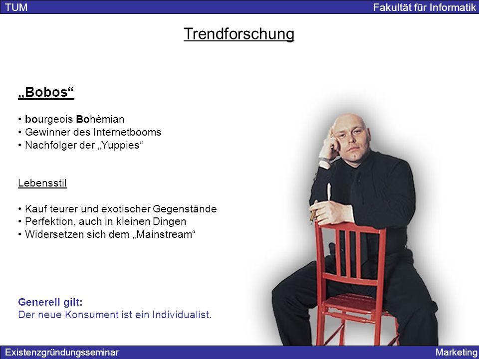 "Trendforschung ""Bobos TUM Fakultät für Informatik bourgeois Bohèmian"