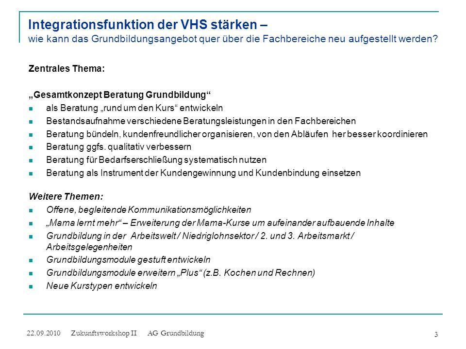 Integrationsfunktion der VHS stärken – wie kann das Grundbildungsangebot quer über die Fachbereiche neu aufgestellt werden
