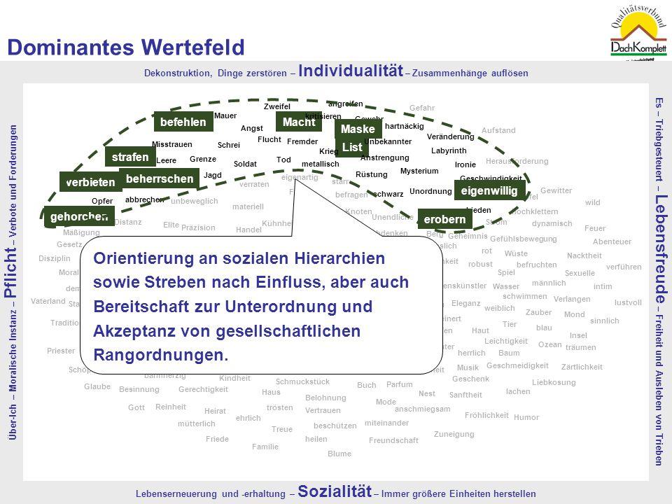 Dominantes Wertefeld Über-Ich – Moralische Instanz – Pflicht – Verbote und Forderungen.
