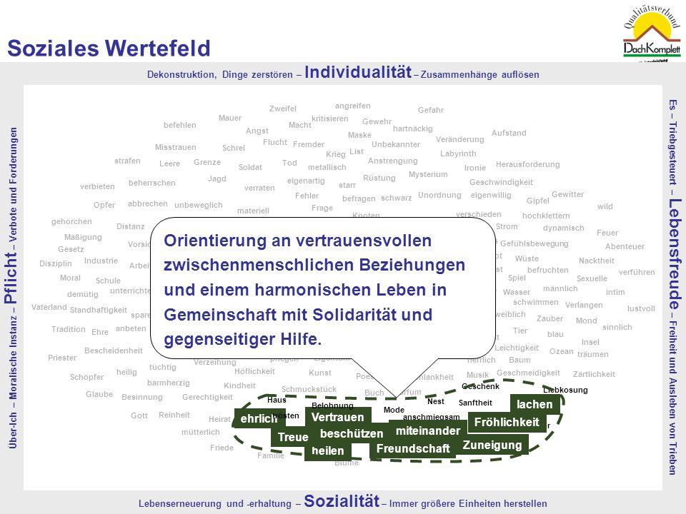 Soziales Wertefeld Über-Ich – Moralische Instanz – Pflicht – Verbote und Forderungen.