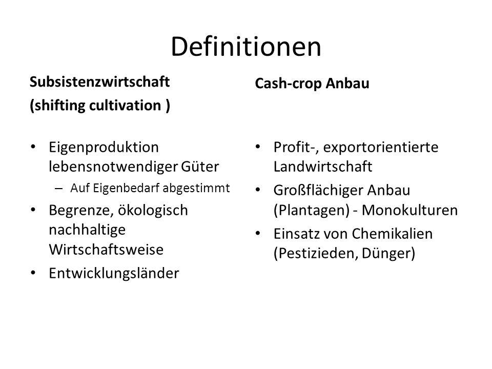 Definitionen Cash-crop Anbau Subsistenzwirtschaft