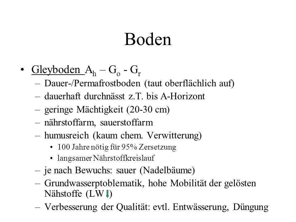 Boden Gleyboden Ah – Go - Gr