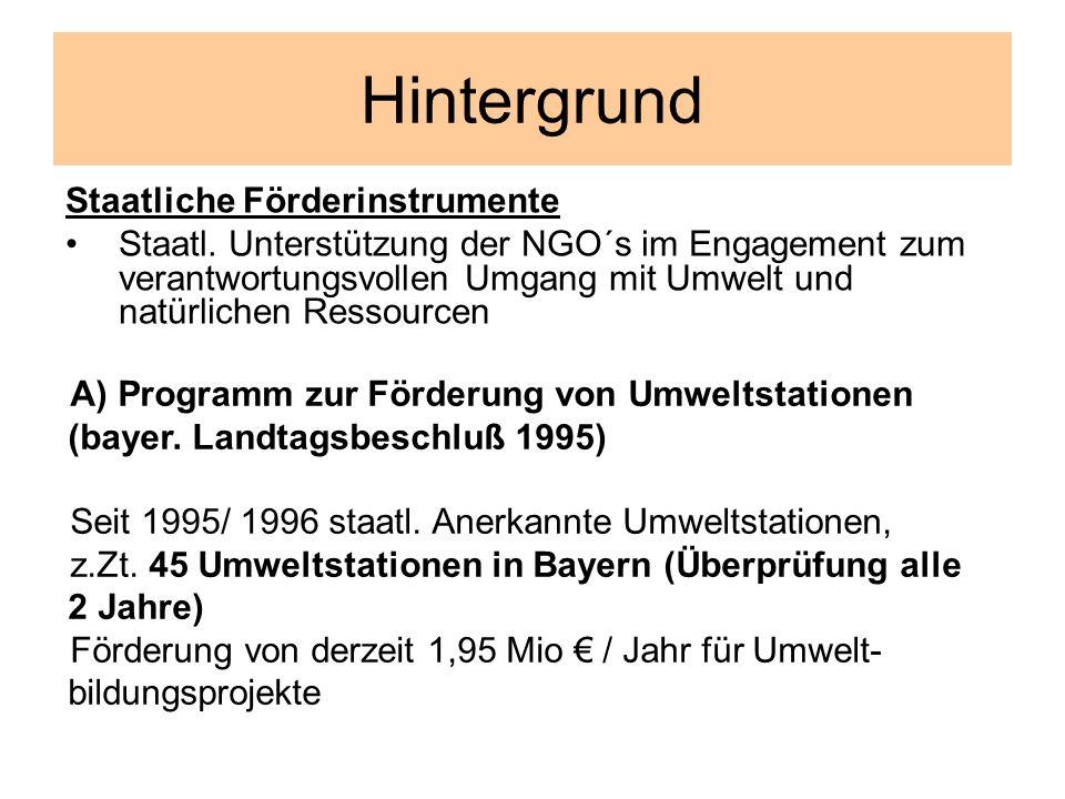 Hintergrund Staatliche Förderinstrumente