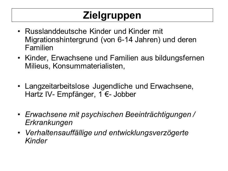 Zielgruppen Russlanddeutsche Kinder und Kinder mit Migrationshintergrund (von 6-14 Jahren) und deren Familien.
