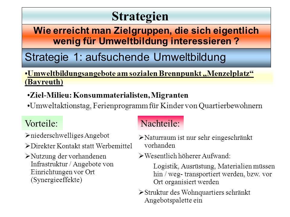 Strategie 1: aufsuchende Umweltbildung