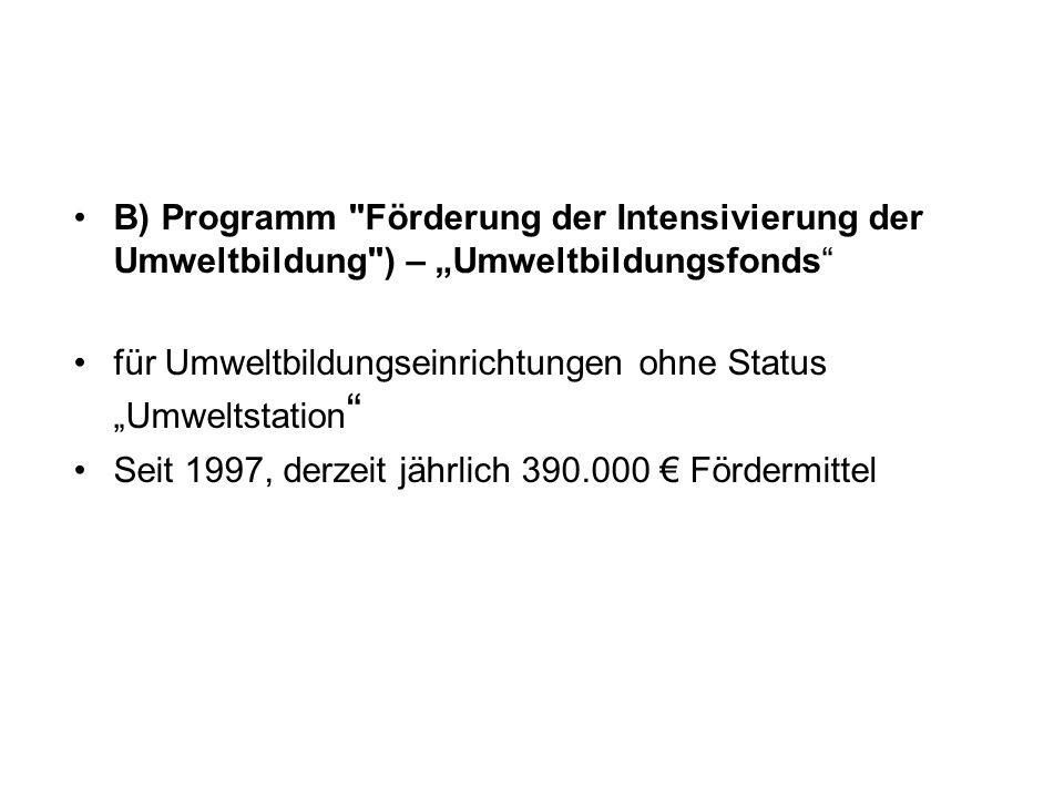 """B) Programm Förderung der Intensivierung der Umweltbildung ) – """"Umweltbildungsfonds"""
