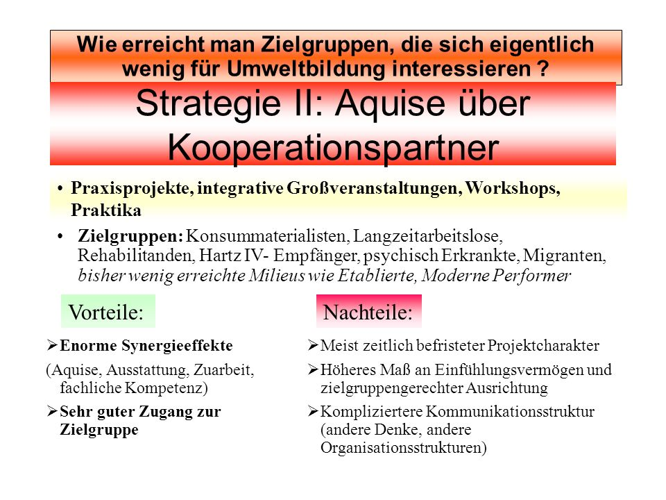 Strategie II: Aquise über Kooperationspartner