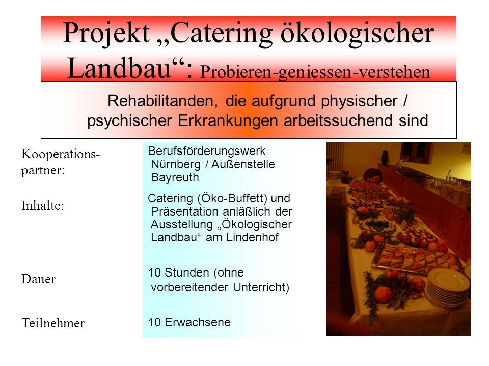 "Projekt ""Catering ökologischer Landbau : Probieren-geniessen-verstehen"