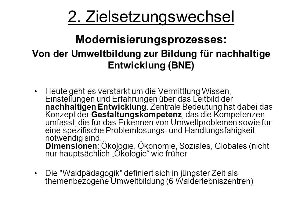 2. Zielsetzungswechsel Modernisierungsprozesses: Von der Umweltbildung zur Bildung für nachhaltige Entwicklung (BNE)