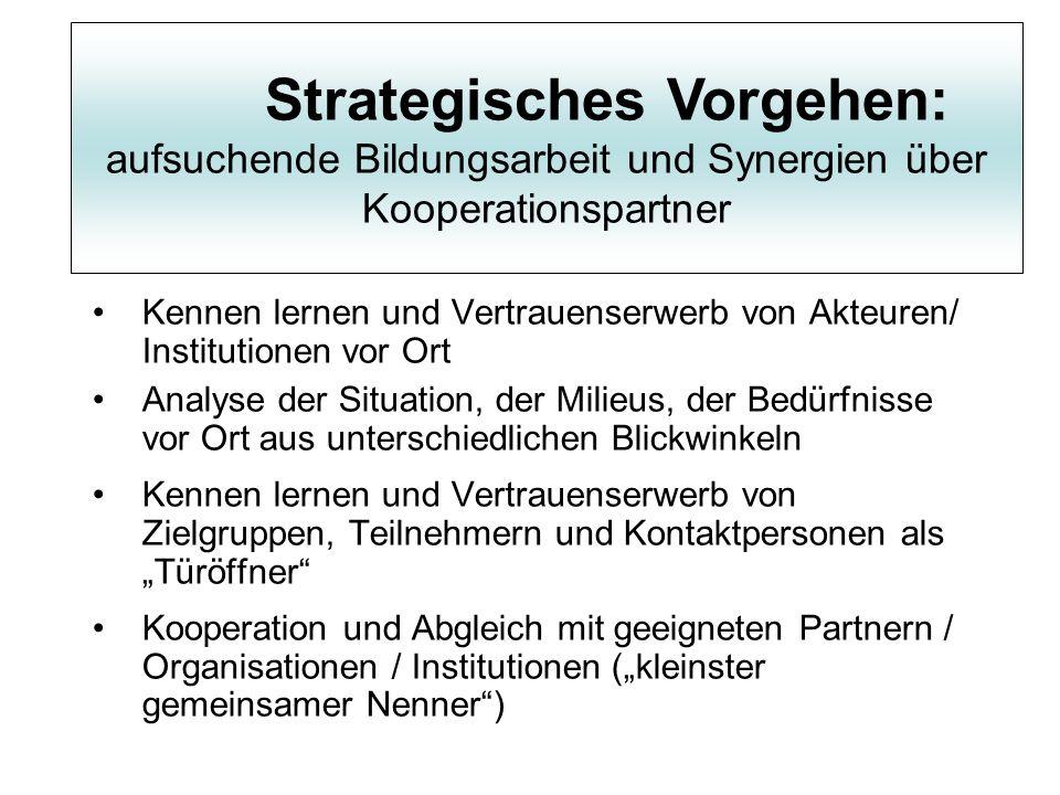 Strategisches Vorgehen: aufsuchende Bildungsarbeit und Synergien über Kooperationspartner