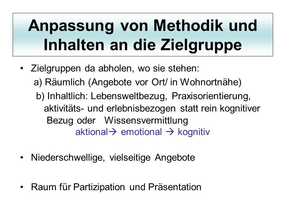 Anpassung von Methodik und Inhalten an die Zielgruppe