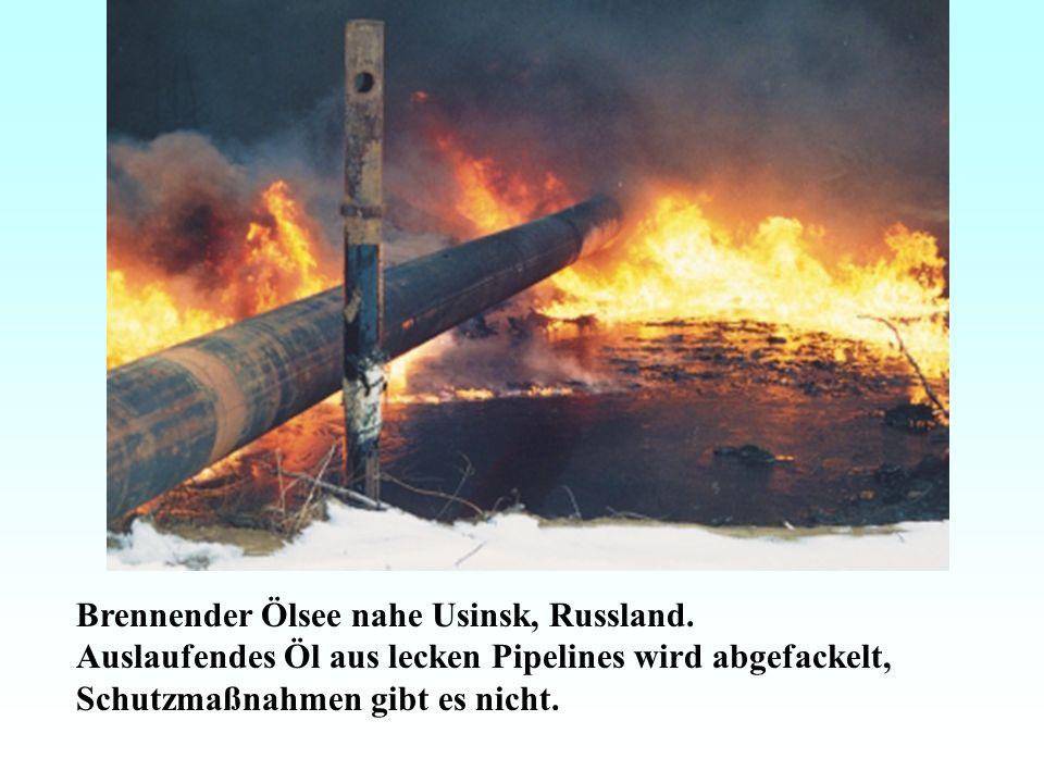 Brennender Ölsee nahe Usinsk, Russland