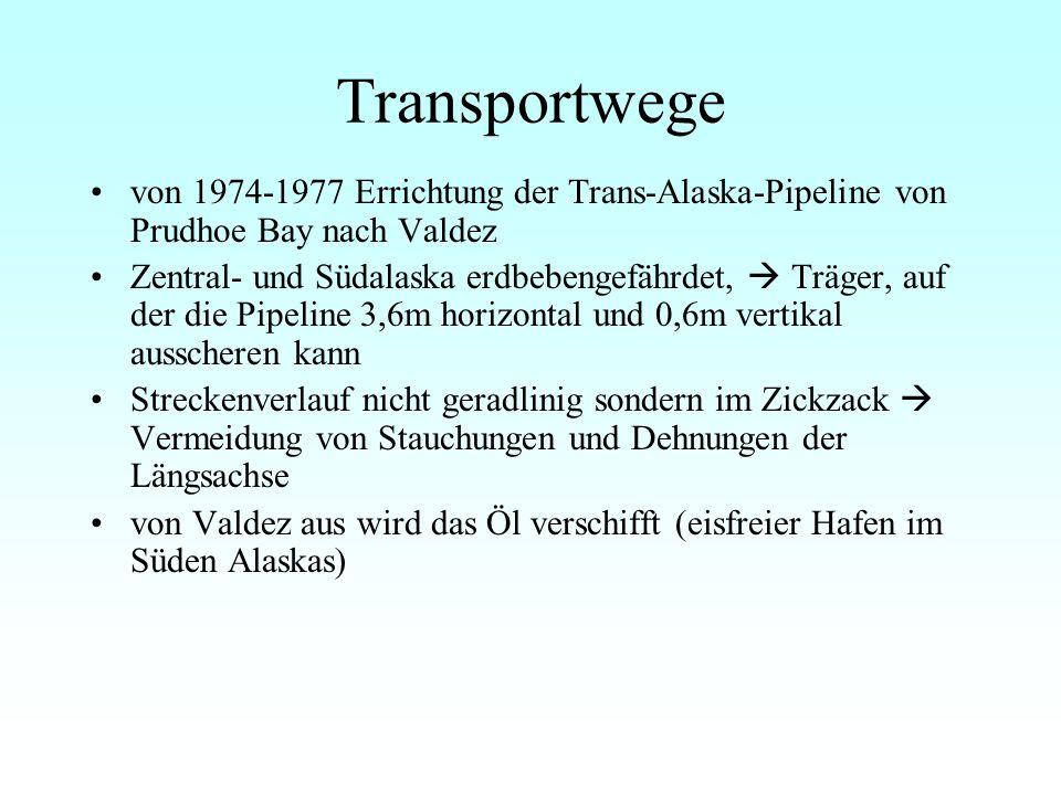 Transportwege von 1974-1977 Errichtung der Trans-Alaska-Pipeline von Prudhoe Bay nach Valdez.