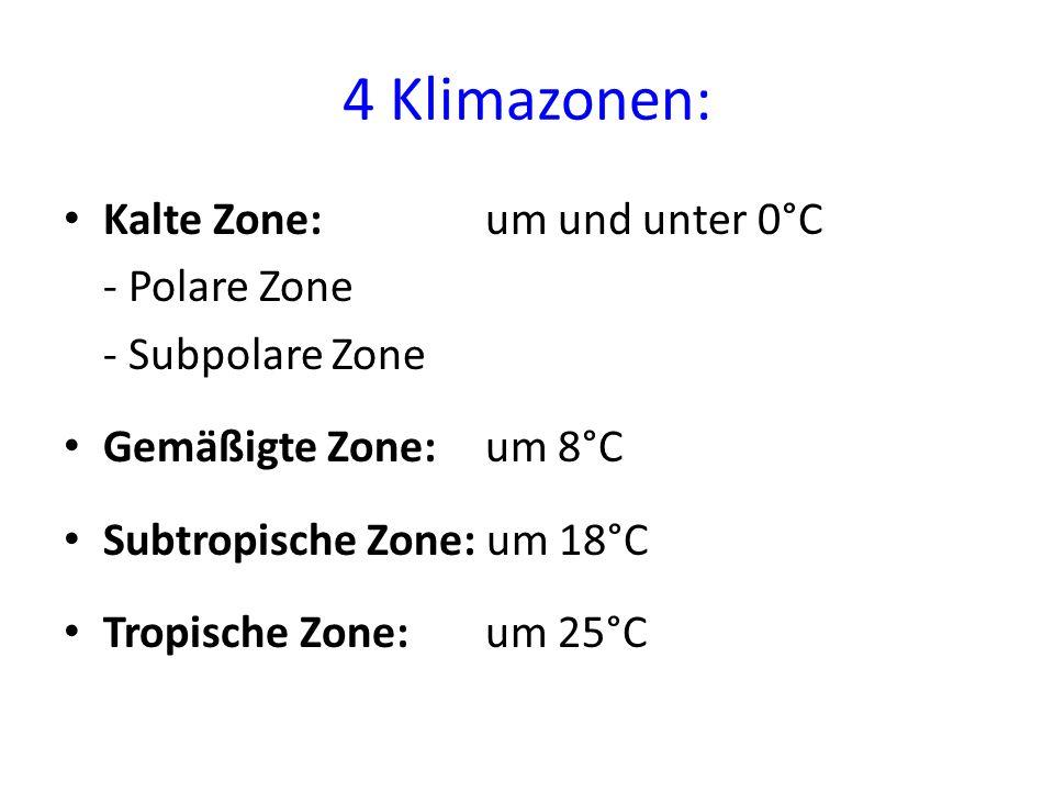 4 Klimazonen: Kalte Zone: um und unter 0°C - Polare Zone