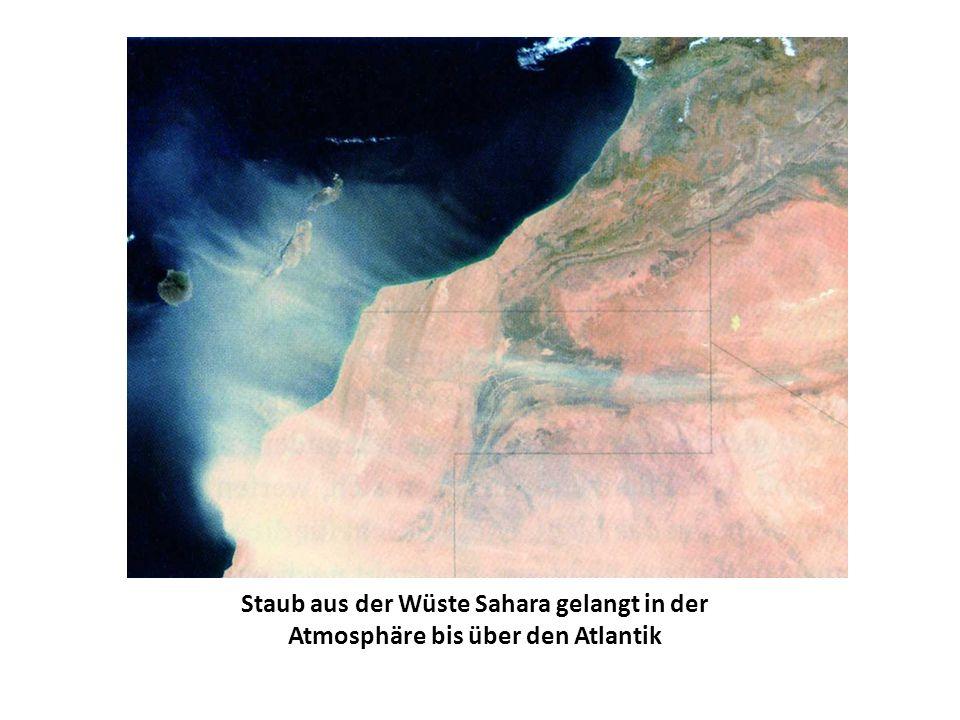 Staub aus der Wüste Sahara gelangt in der Atmosphäre bis über den Atlantik