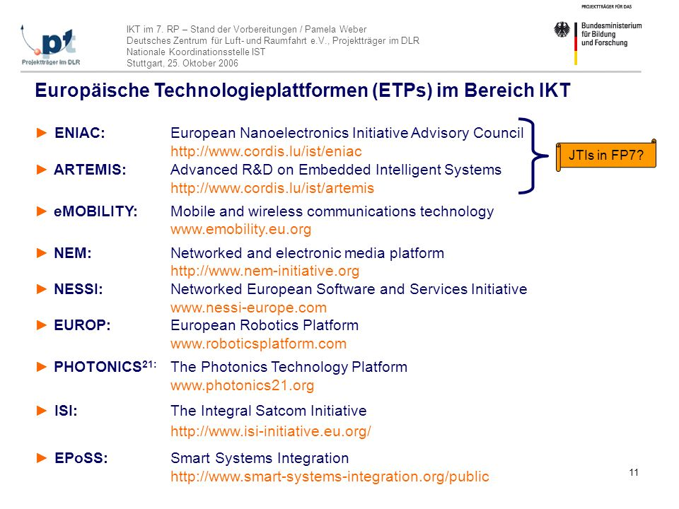 Europäische Technologieplattformen (ETPs) im Bereich IKT