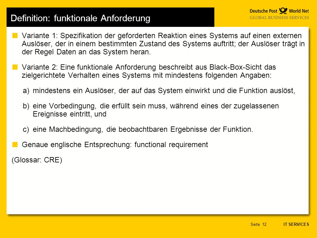 Definition: funktionale Anforderung