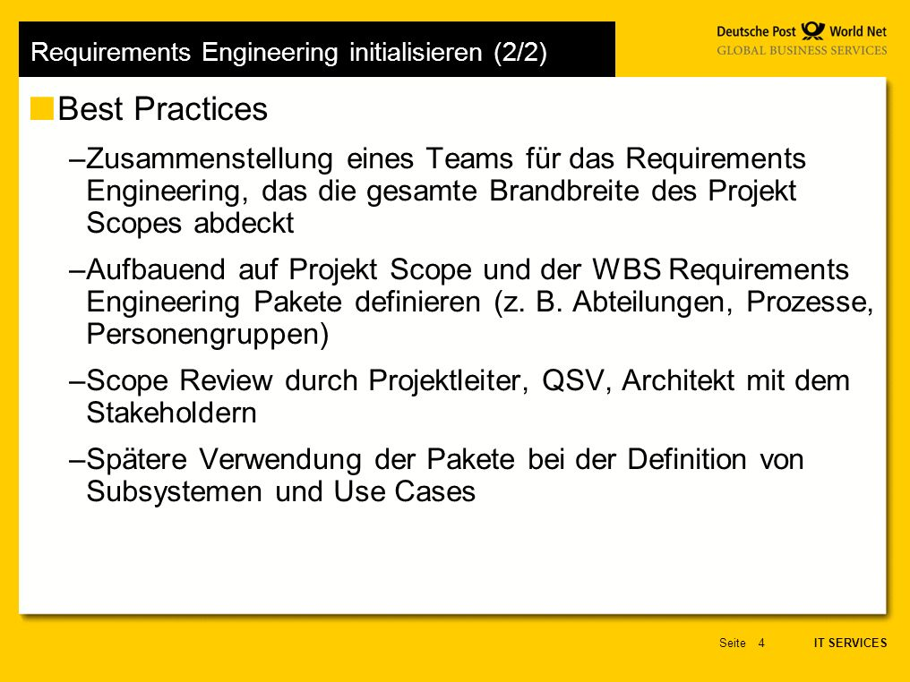 Requirements Engineering initialisieren (2/2)