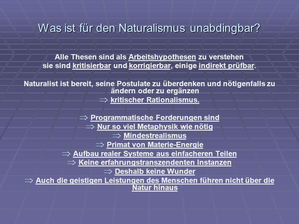 Was ist für den Naturalismus unabdingbar