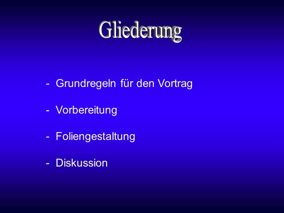 Gliederung - Grundregeln für den Vortrag - Vorbereitung