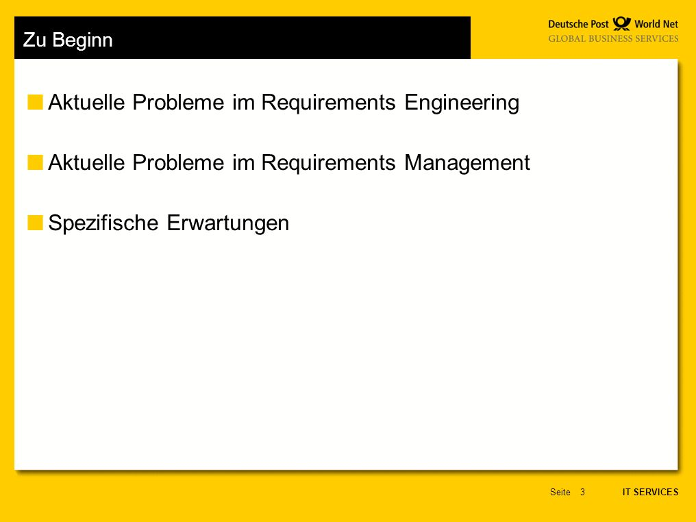 Aktuelle Probleme im Requirements Engineering