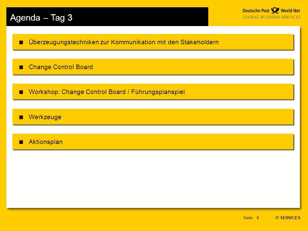 Agenda – Tag 3 Überzeugungstechniken zur Kommunikation mit den Stakeholdern. Change Control Board.