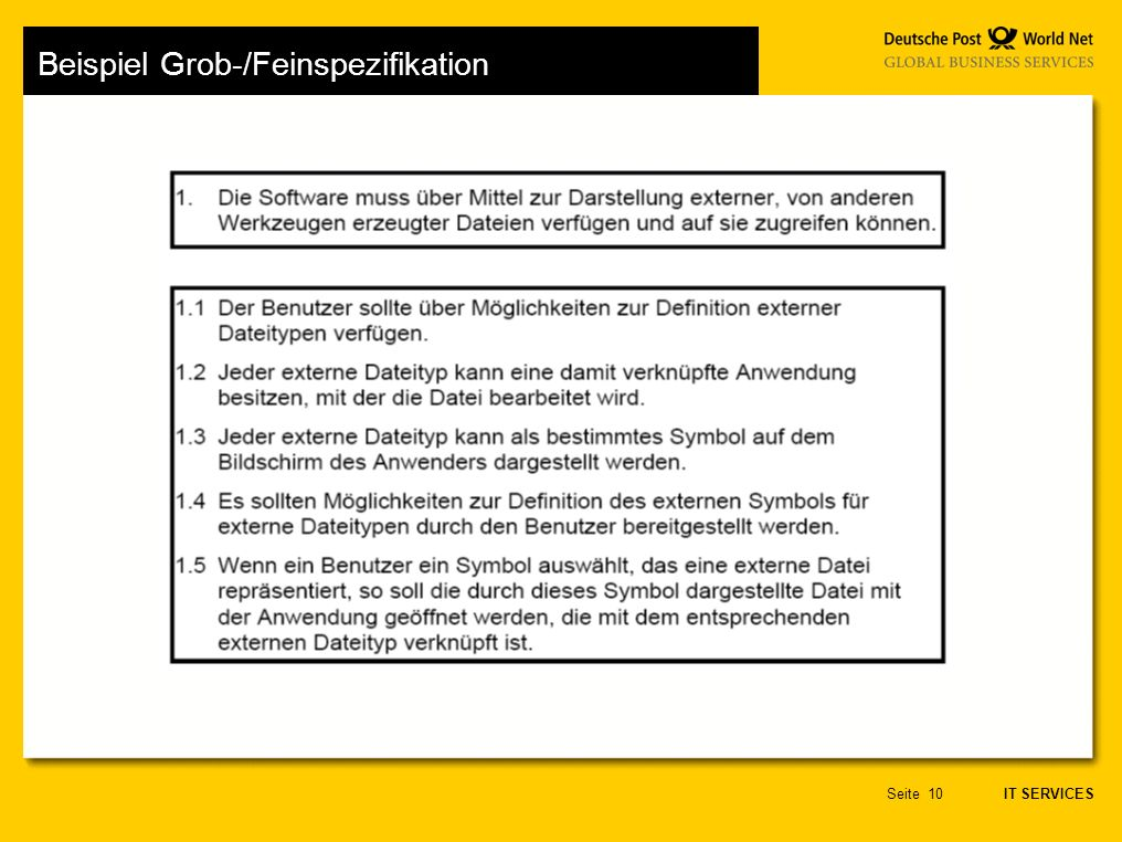 Beispiel Grob-/Feinspezifikation