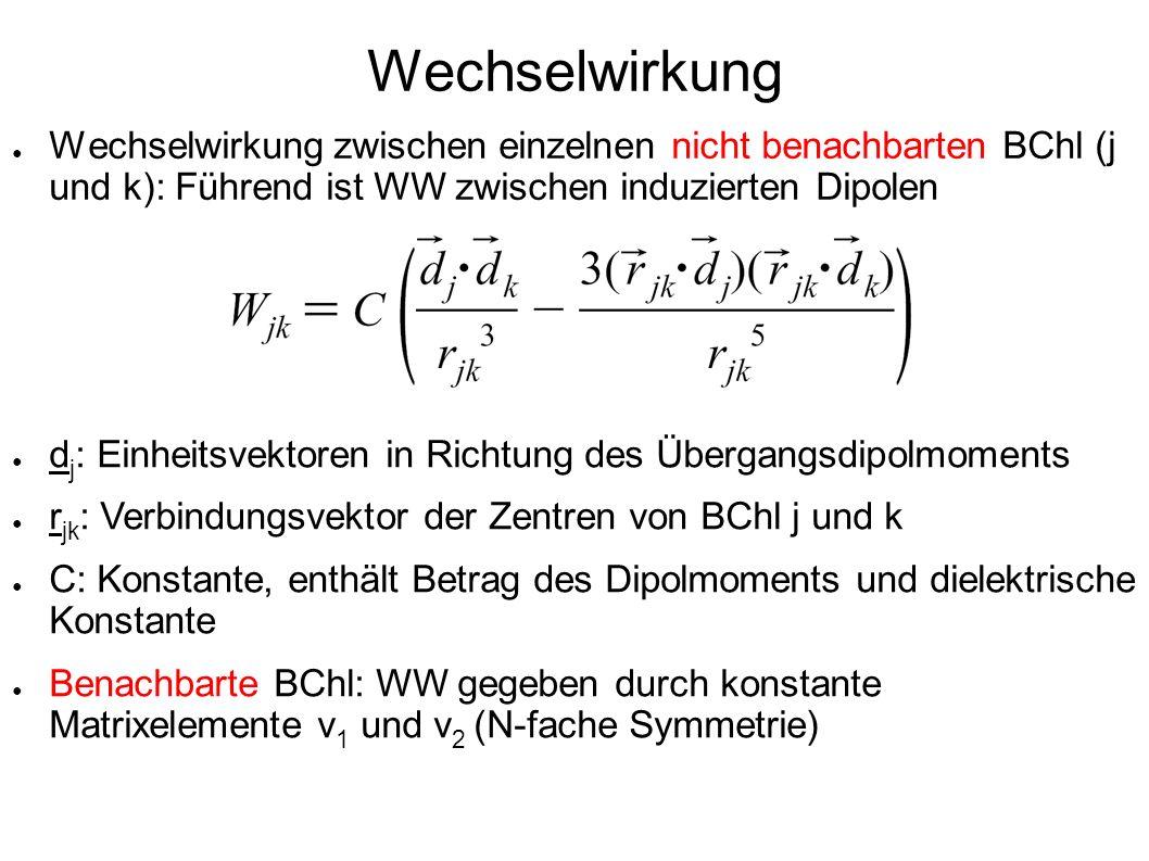 Wechselwirkung Wechselwirkung zwischen einzelnen nicht benachbarten BChl (j und k): Führend ist WW zwischen induzierten Dipolen.