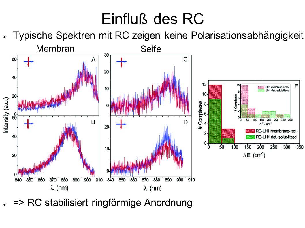 Einfluß des RC Typische Spektren mit RC zeigen keine Polarisationsabhängigkeit.