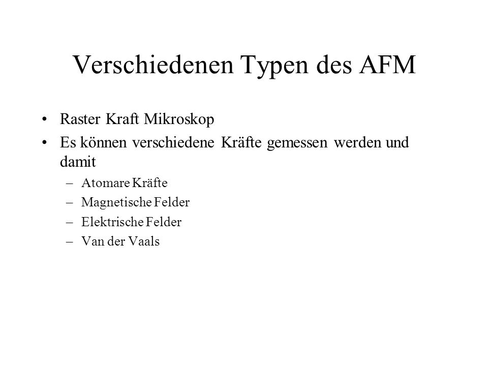 Verschiedenen Typen des AFM