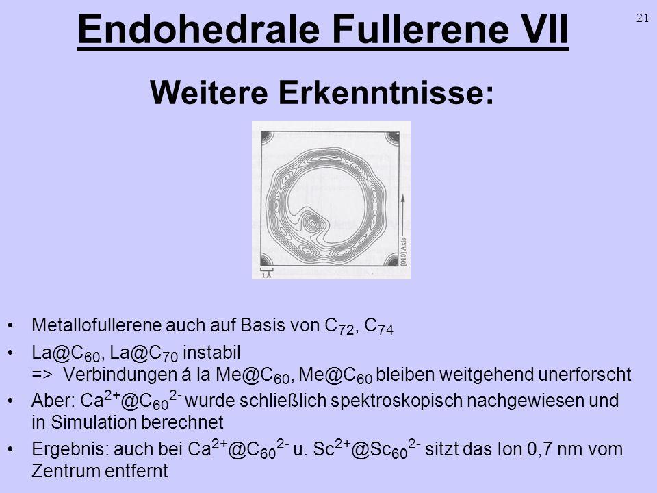 Endohedrale Fullerene VII Weitere Erkenntnisse: