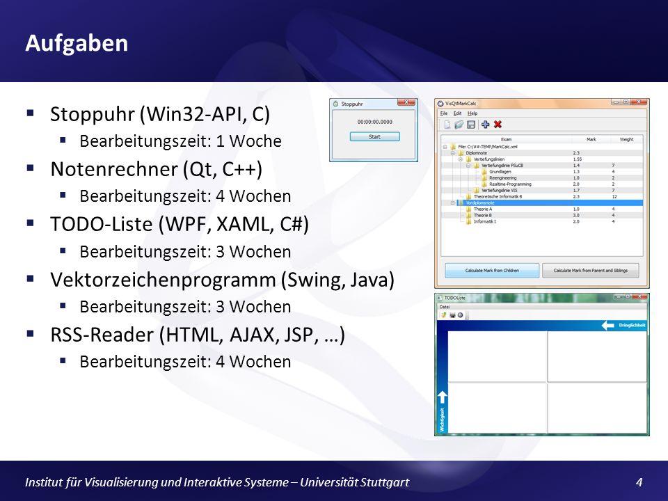 Aufgaben Stoppuhr (Win32-API, C) Notenrechner (Qt, C++)