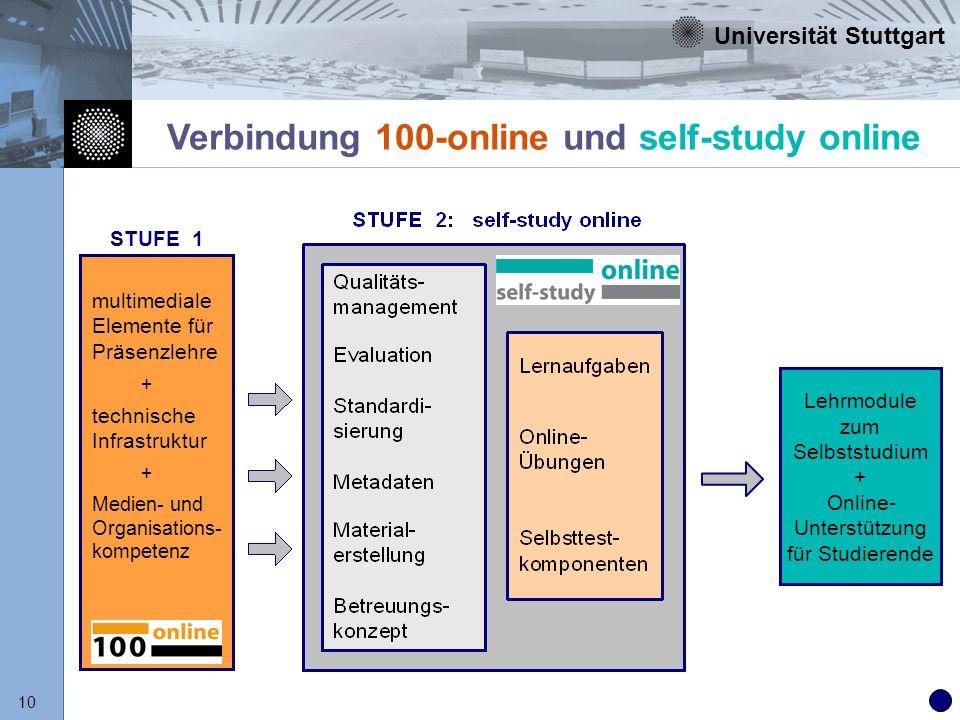 Verbindung 100-online und self-study online