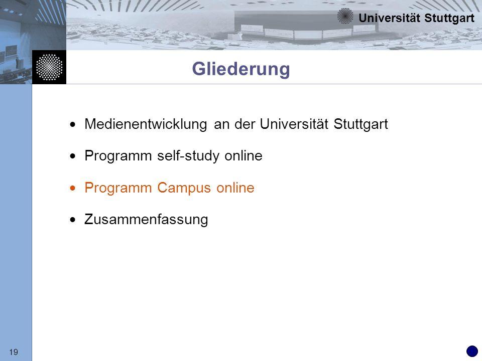 Gliederung Medienentwicklung an der Universität Stuttgart