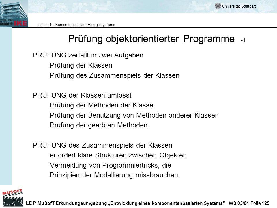 Prüfung objektorientierter Programme -1