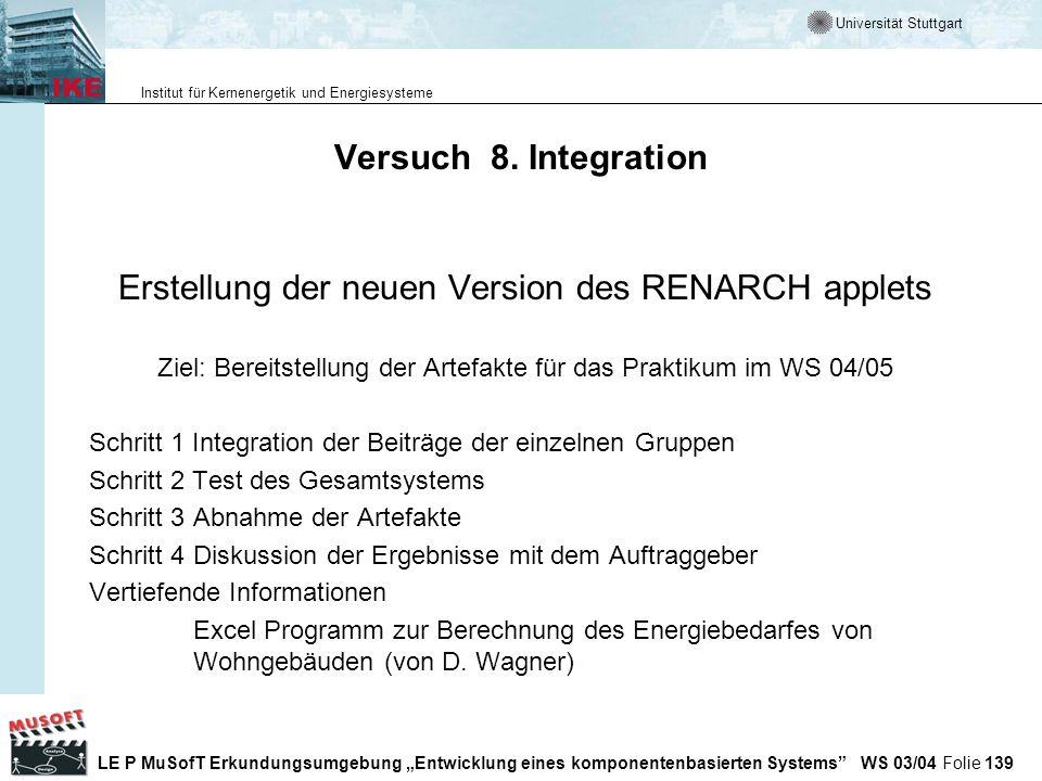 Erstellung der neuen Version des RENARCH applets