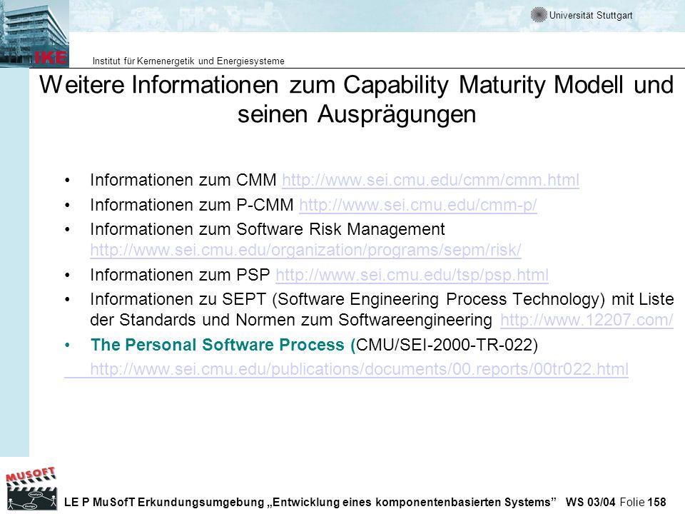Weitere Informationen zum Capability Maturity Modell und seinen Ausprägungen