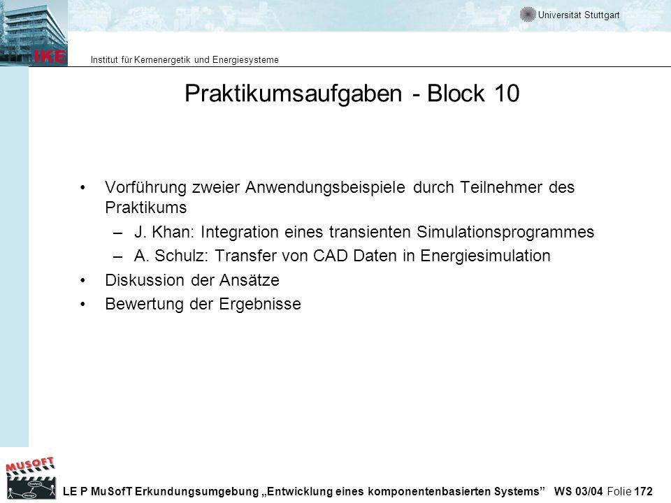 Praktikumsaufgaben - Block 10