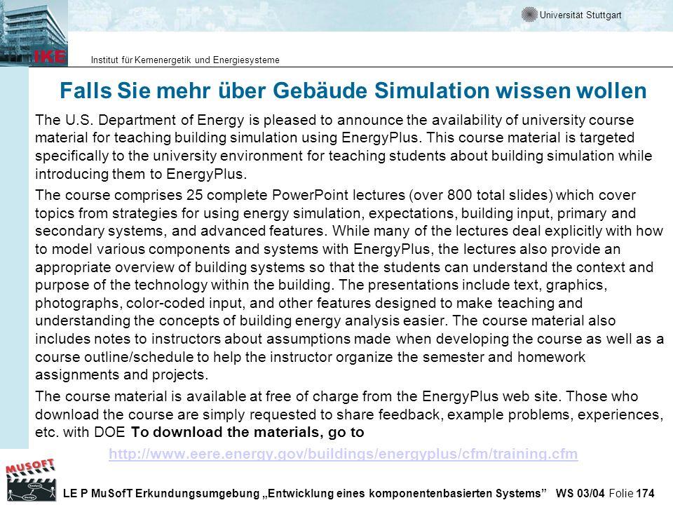 Falls Sie mehr über Gebäude Simulation wissen wollen