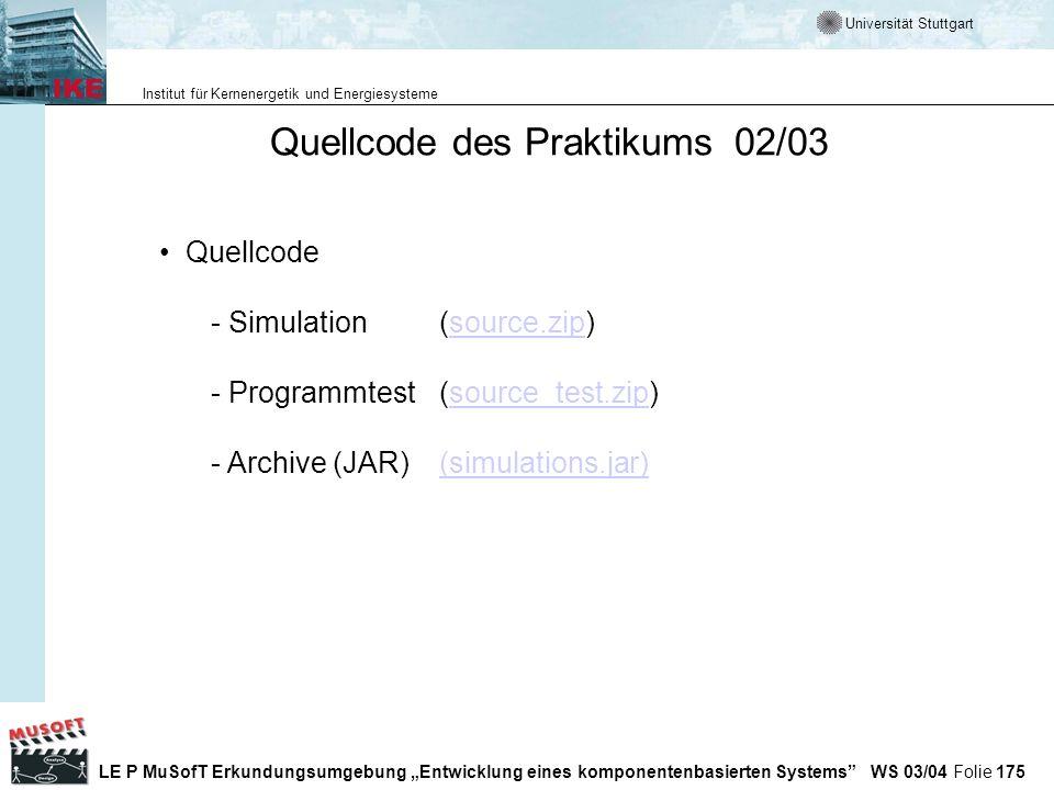 Quellcode des Praktikums 02/03