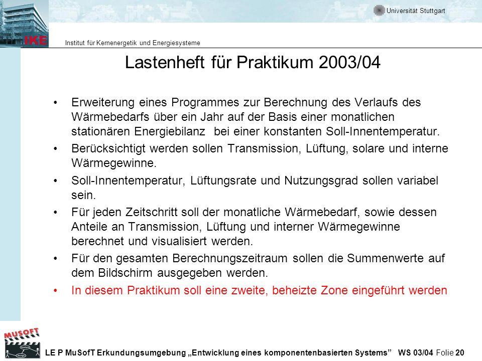 Lastenheft für Praktikum 2003/04
