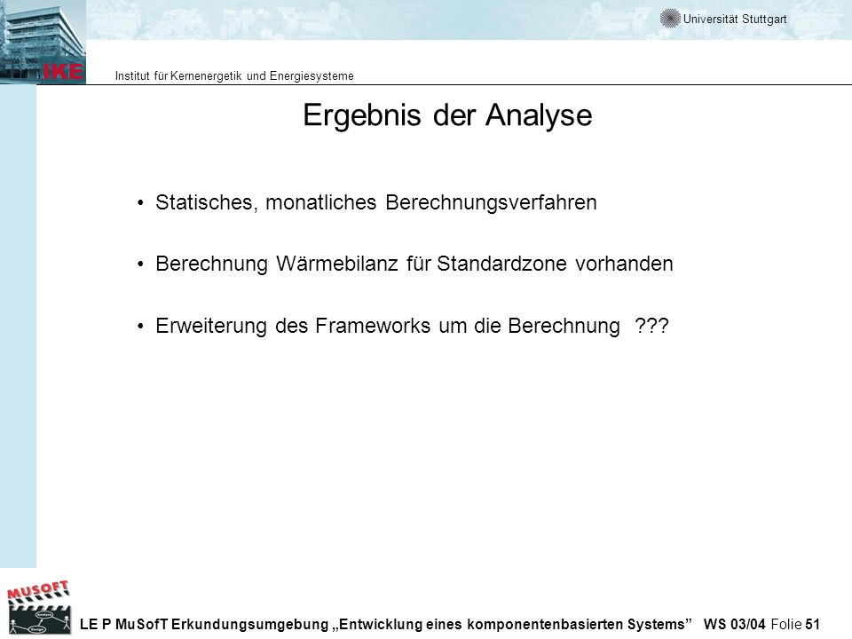 Ergebnis der Analyse Statisches, monatliches Berechnungsverfahren